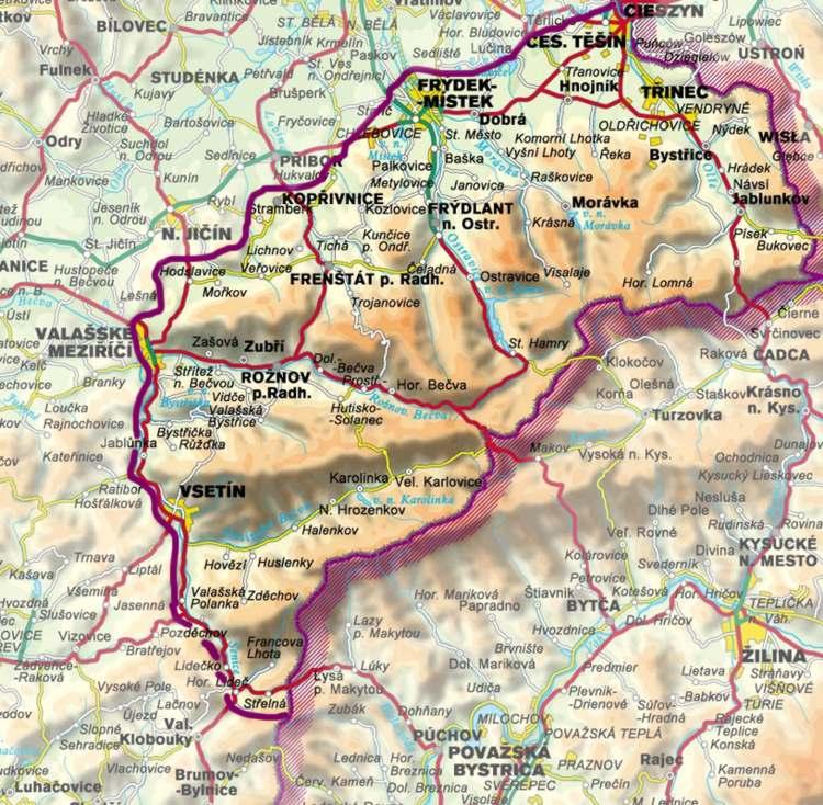 Beskydy, Po kliknutí se načte mapa regionu (140 kb)