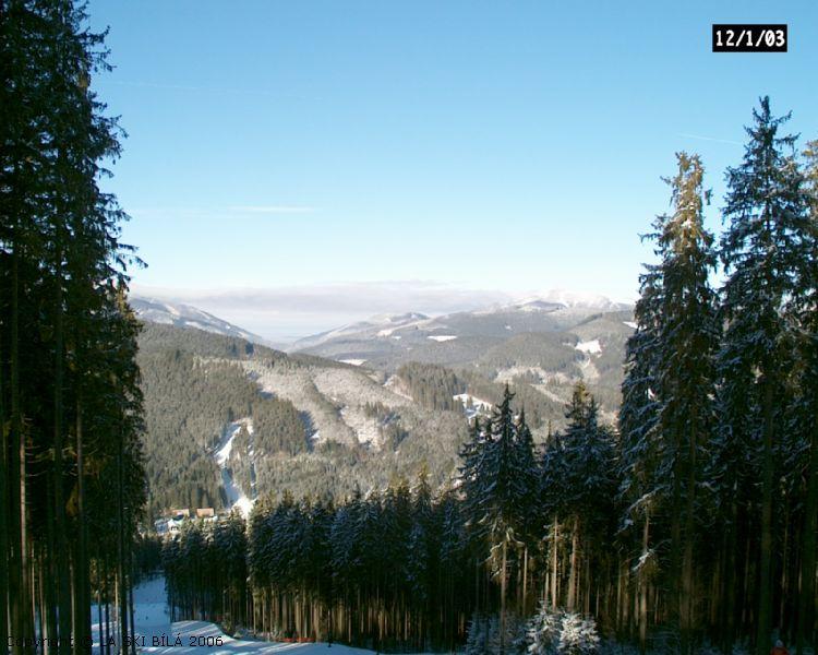 Ski areál Bílá - Pohled z vrcholu severní sjezdovky